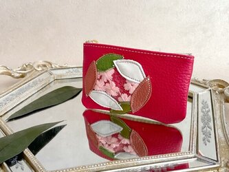 Sakura革小物 ポーチ 本革 レッド &クロコ型押し ホワイトイエロー w/ さくら チュールの画像