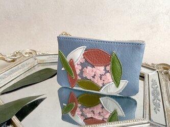 Sakura革小物 ポーチ 本革 ペールブルー &花柄 スエード ブルー w/ さくら チュールの画像