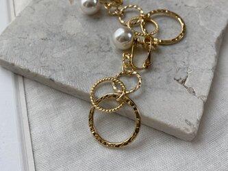 主役級イヤリング!Pearls&Circles earringsノンホールピアスの画像