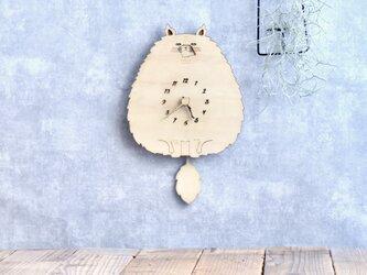 モフねこの時計 木製 振り子時計 掛け時計の画像