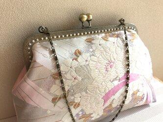 がまぐちバッグ・ピンク×パープル桜の花束柄帯地の画像