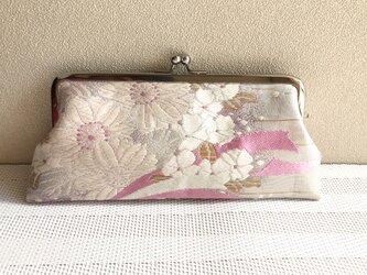 ★眼鏡ケース がま口タイプ  ピンク×パープル桜の花束柄帯地 ★の画像