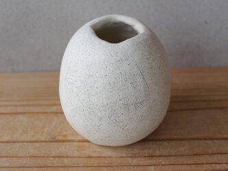揺ら 花器 白 陶土  顔料黒 いち 地シリーズの画像