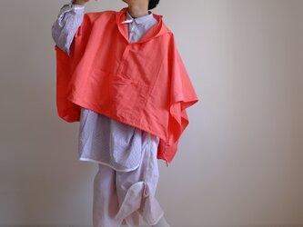セーラーカラーのアノラックポンチョ/ ヴィスコース リネン【蛍光ピンクオレンジ】ネオンカラーの画像