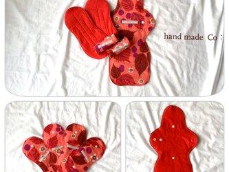 お出かけ用 布ナプキン ・ red leaf/1セットの画像