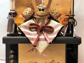 五月人形 紅10号兜金富士収納飾りの画像