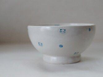 パンダ茶碗ー水色水玉の画像