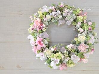 春霞 桜と小花のリース:ピンク さくら の画像