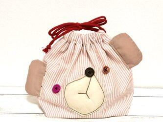 おとぼけクマのお弁当袋☆ピンクの画像