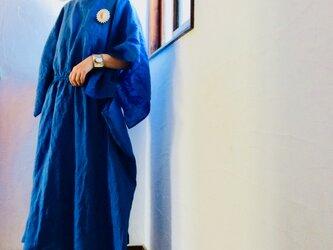 スリットスリーブギャザーワンピース  リネン100 ロイヤルブルーの画像