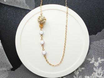 elegance ピュアホワイト&ゴールド水引玉ネックレスの画像
