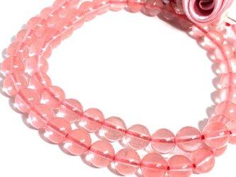 【穴有】~桜ん坊glass~チェリークォーツ(人工)丸珠 6mm20個の画像