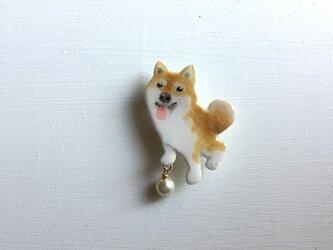 柴犬(茶柴)のブローチ(送料無料)の画像