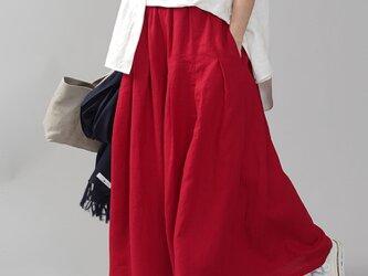【wafu】やや薄手 リネン 袴(はかま)パンツ ワイドパンツ マキシ丈 40番手/赤紅 b002k-akb1の画像