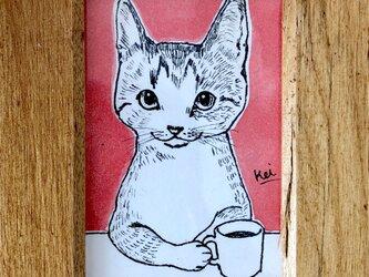 イラスト原画【カフェする猫】の画像