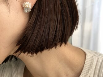 フローライトと粒淡水真珠ピアス・イヤリングの画像