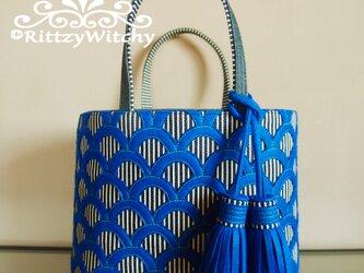 刺し子風トートバッグ(青海波ブルー・ストライプ×デニム)の画像