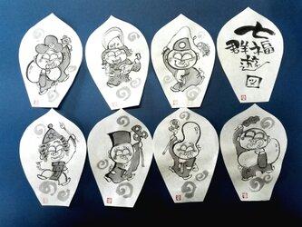 墨絵七福神 散華(さんげ)8枚組の画像