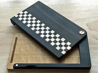 寄せ木の名刺入れ チェッカー(黒×白)の画像
