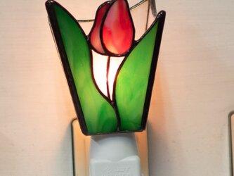 「おやすみランプ・チューリップ・赤」ステンドグラスランプ フットランプ の画像