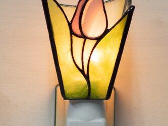 「おやすみランプ・チューリップ・ピンク」ステンドグラスランプ フットランプ の画像