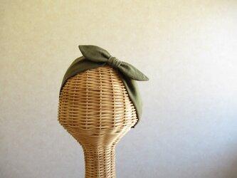 リボンのヘアバンド モスグリーンのダブルガーゼ[残り1点]の画像