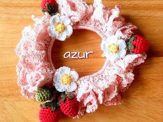 手編みシュシュ 銀ラメピンク+桜ピンクの画像