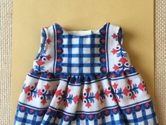 sokko's Dress 白地にブルーとピンク色の花柄ワンピースの画像
