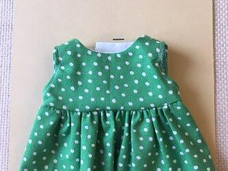 sokko's Dress 明るい緑地に白ドット柄のワンピースの画像