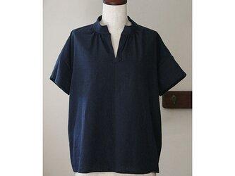 Tシャツ感覚で着られる スタンドカラーのプルオーバー コットンリネン ネイビー (F)の画像