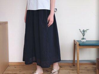 春夏 裏地付きコットンギャザースカート ネイビーの画像