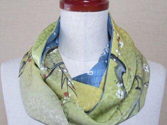 着物リメイク 手描き梅枝模様正絹着物×辻ヶ花模様着物から素敵なスヌードの画像