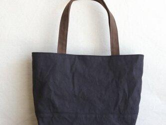 【受注製作】mコーヒー×チャコールグレー 浜松産帆布使用トートM持ち手長めの画像
