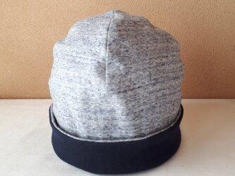 ニットのリバーシブル帽子(Lサイズ)*ネイビー杢×ネイビー無地の画像