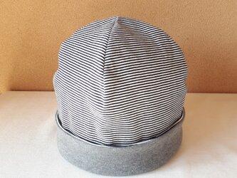 ニットのリバーシブル帽子(Lサイズ)*細ボーダー(ダークネイビー×オフ白)×杢グレーの画像
