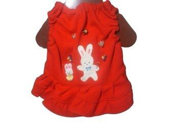 ◆胸30◆うさぎさんと赤ワンピース♪カワイイわんちゃん服をご褒美の画像