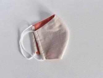 草木染め:ダブルガーゼの立体型の布マスク【ピンクxナチュラル】の画像