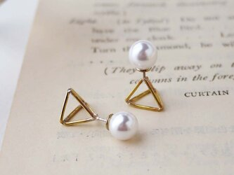 三角錐とパールキャッチの2wayピアスの画像