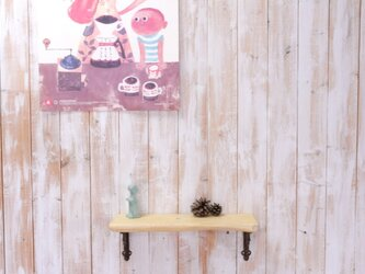 アンティーク加工の棚板 42㎝ (クリームイエロー)の画像