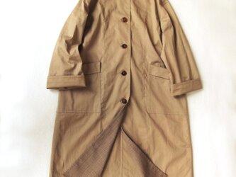 コットン ハイカウント ツイルワッシャー・マンダリンカラー コートの画像