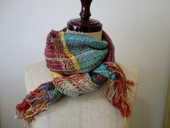 《手織り》春色コットンと麻のさわやかマフラーの画像