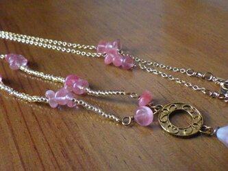 桜色のグラスコード(ストロベリークオーツ、2way)の画像
