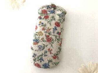 花柄メガネケース ナチュラル×赤×青の画像