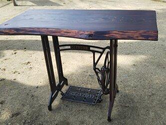 アンティークテーブル(ミシン脚)の画像