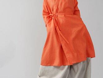 【wafu】中厚 リネン 禅 羽織  着物 和装 襟 ローブ コート 九分袖 リネンコート/バーミリオン h037g-vmi2の画像