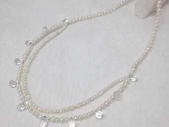 淡水パールと水晶のネックレス 2重の画像