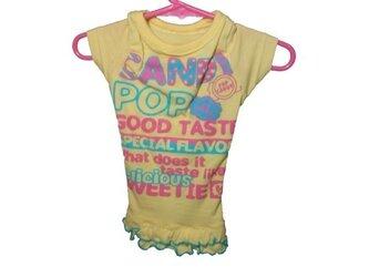 胸34♡イエローワンピース♡お洒落な手作り犬の洋服♡Tシャツ素材の画像