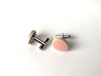 玉石タイルのカフスボタン(ピンク)の画像