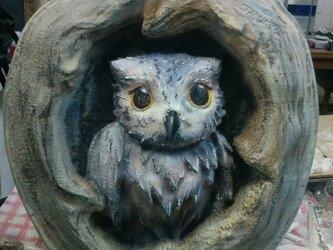 フクロウの巣3D彫刻の画像