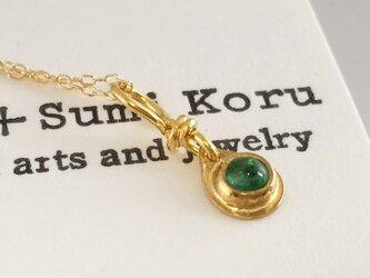 K24 Pure Gold+Emerald 天然エメラルド 純金ペンダントトップ2の画像